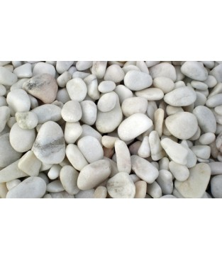 Seixo mármore branco 20x40mm